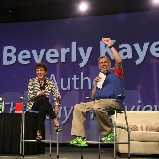 Bev on stage at LEAD